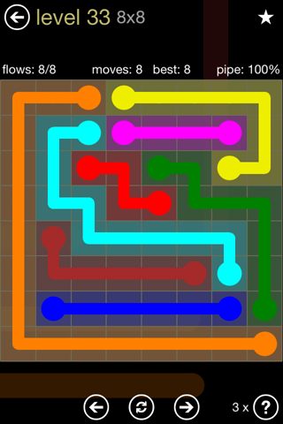Solution and Answer to the Puzzle for Flow 8mania Pack Set 8x8 Level 33