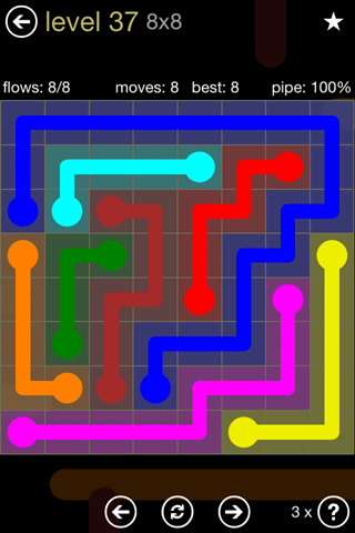 Solution and Answer to the Puzzle for Flow 8mania Pack Set 8x8 Level 37