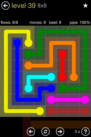 Solution and Answer to the Puzzle for Flow 8mania Pack Set 8x8 Level 39