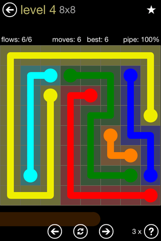 Solution and Answer to the Puzzle for Flow 8mania Pack Set 8x8 Level 4