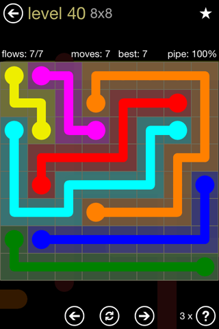 Solution and Answer to the Puzzle for Flow 8mania Pack Set 8x8 Level 40
