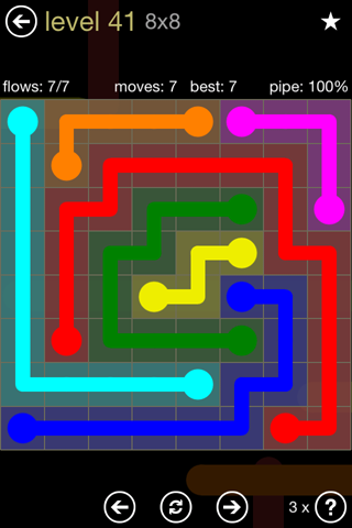Solution and Answer to the Puzzle for Flow 8mania Pack Set 8x8 Level 41