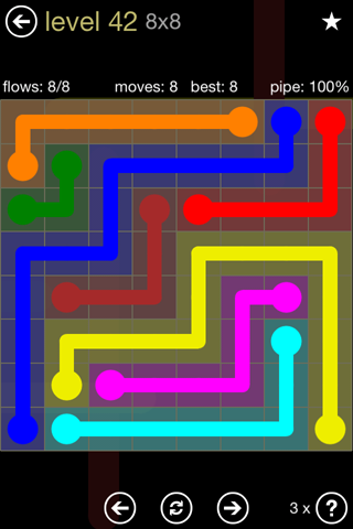 Solution and Answer to the Puzzle for Flow 8mania Pack Set 8x8 Level 42