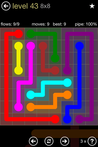 Solution and Answer to the Puzzle for Flow 8mania Pack Set 8x8 Level 43