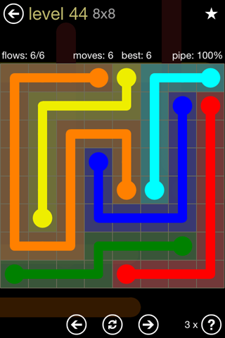 Solution and Answer to the Puzzle for Flow 8mania Pack Set 8x8 Level 44