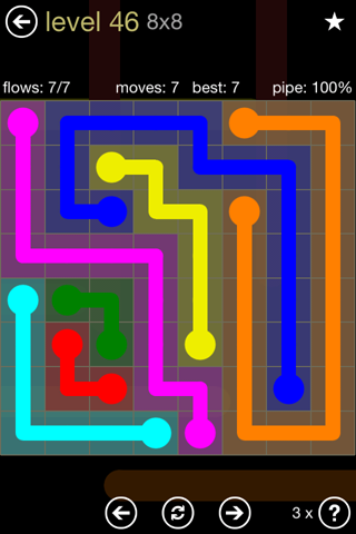 Solution and Answer to the Puzzle for Flow 8mania Pack Set 8x8 Level 46