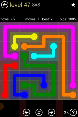 Solution and Answer to the Puzzle for Flow 8mania Pack Set 8x8 Level 47