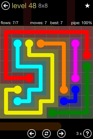 Solution and Answer to the Puzzle for Flow 8mania Pack Set 8x8 Level 48