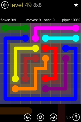 Solution and Answer to the Puzzle for Flow 8mania Pack Set 8x8 Level 49