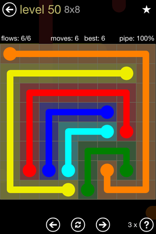 Solution and Answer to the Puzzle for Flow 8mania Pack Set 8x8 Level 50