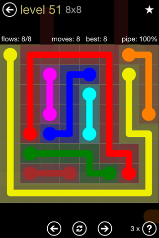 Solution and Answer to the Puzzle for Flow 8mania Pack Set 8x8 Level 51