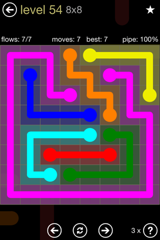 Solution and Answer to the Puzzle for Flow 8mania Pack Set 8x8 Level 54