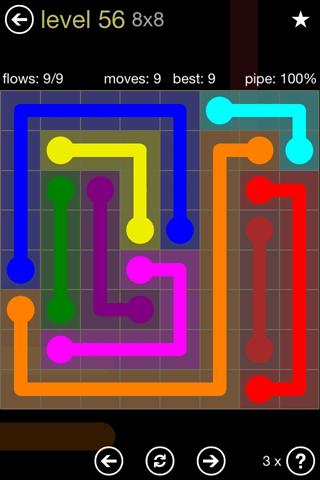 Solution and Answer to the Puzzle for Flow 8mania Pack Set 8x8 Level 56