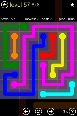 Solution and Answer to the Puzzle for Flow 8mania Pack Set 8x8 Level 57