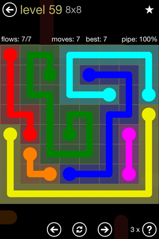 Solution and Answer to the Puzzle for Flow 8mania Pack Set 8x8 Level 59