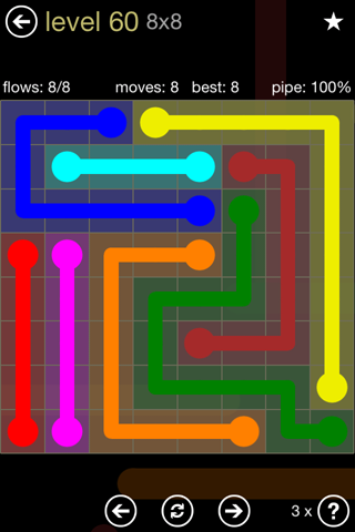Solution and Answer to the Puzzle for Flow 8mania Pack Set 8x8 Level 60