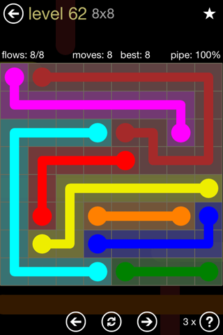 Solution and Answer to the Puzzle for Flow 8mania Pack Set 8x8 Level 62