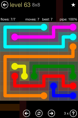 Solution and Answer to the Puzzle for Flow 8mania Pack Set 8x8 Level 63