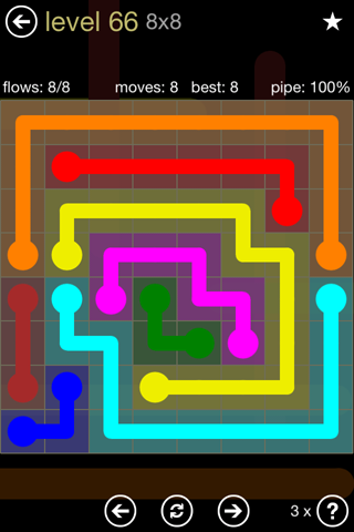 Solution and Answer to the Puzzle for Flow 8mania Pack Set 8x8 Level 66