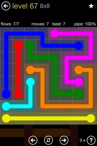 Solution and Answer to the Puzzle for Flow 8mania Pack Set 8x8 Level 67