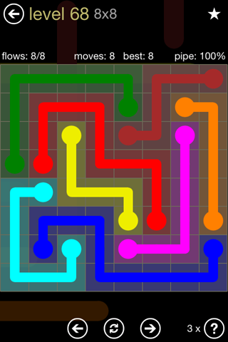 Solution and Answer to the Puzzle for Flow 8mania Pack Set 8x8 Level 68