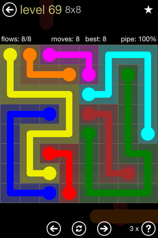 Solution and Answer to the Puzzle for Flow 8mania Pack Set 8x8 Level 69