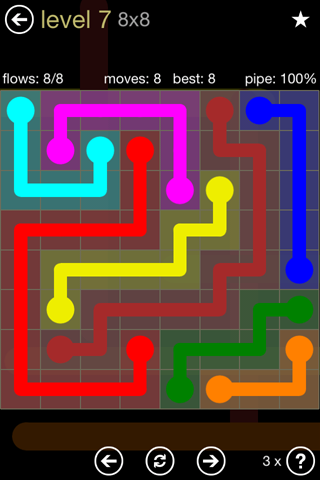Solution and Answer to the Puzzle for Flow 8mania Pack Set 8x8 Level 7