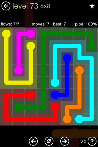 Solution and Answer to the Puzzle for Flow 8mania Pack Set 8x8 Level 73