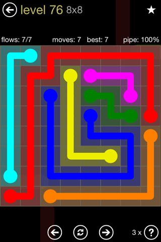 Solution and Answer to the Puzzle for Flow 8mania Pack Set 8x8 Level 76