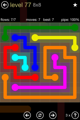 Solution and Answer to the Puzzle for Flow 8mania Pack Set 8x8 Level 77