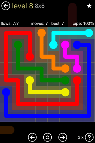 Solution and Answer to the Puzzle for Flow 8mania Pack Set 8x8 Level 8