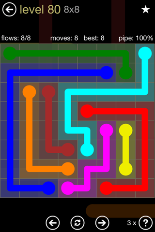 Solution and Answer to the Puzzle for Flow 8mania Pack Set 8x8 Level 80