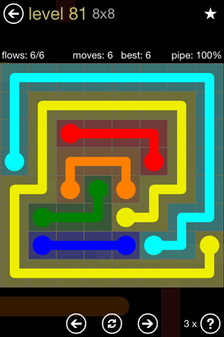 Solution and Answer to the Puzzle for Flow 8mania Pack Set 8x8 Level 81