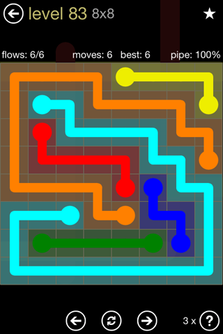 Solution and Answer to the Puzzle for Flow 8mania Pack Set 8x8 Level 83