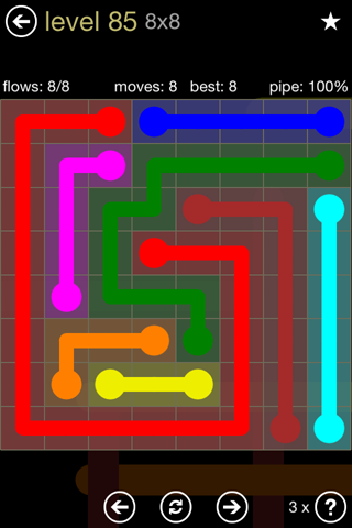 Solution and Answer to the Puzzle for Flow 8mania Pack Set 8x8 Level 85