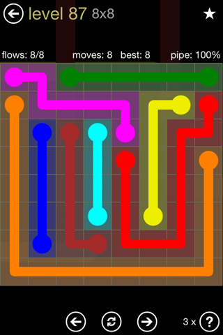 Solution and Answer to the Puzzle for Flow 8mania Pack Set 8x8 Level 87