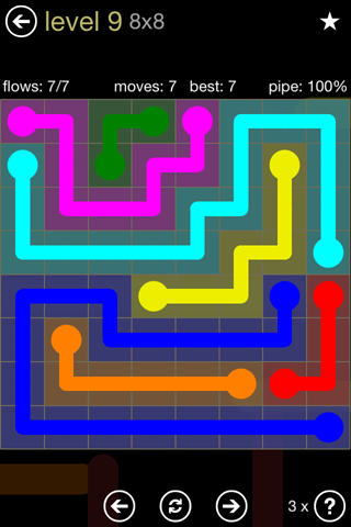 Solution and Answer to the Puzzle for Flow 8mania Pack Set 8x8 Level 9