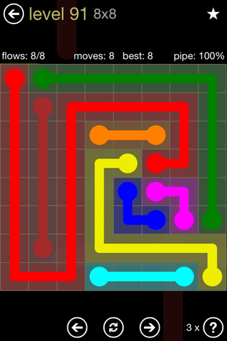 Solution and Answer to the Puzzle for Flow 8mania Pack Set 8x8 Level 91