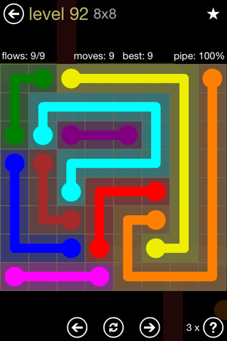 Solution and Answer to the Puzzle for Flow 8mania Pack Set 8x8 Level 92