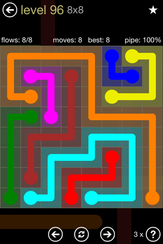 Solution and Answer to the Puzzle for Flow 8mania Pack Set 8x8 Level 96