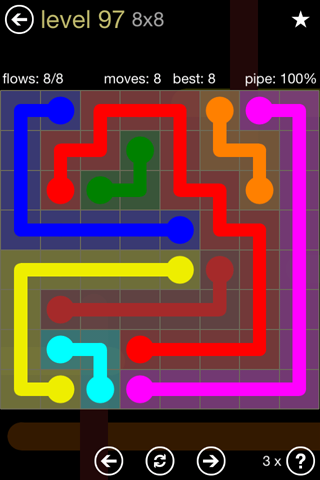 Solution and Answer to the Puzzle for Flow 8mania Pack Set 8x8 Level 97