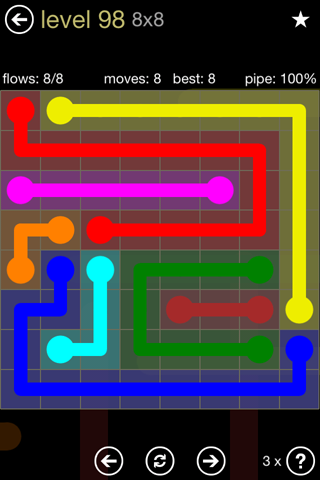 Solution and Answer to the Puzzle for Flow 8mania Pack Set 8x8 Level 98