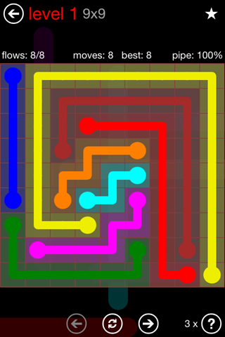 Solution and Answer to the Puzzle for Flow 9mania Pack Set 9x9 Level 1