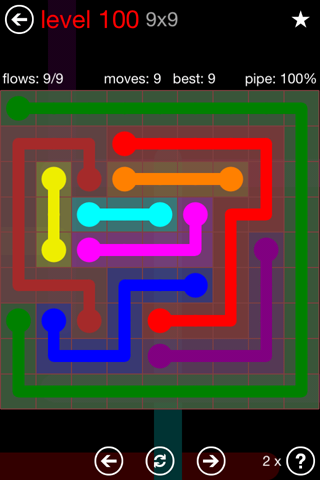Solution and Answer to the Puzzle for Flow 9mania Pack Set 9x9 Level 100