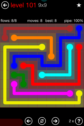 Solution and Answer to the Puzzle for Flow 9mania Pack Set 9x9 Level 101