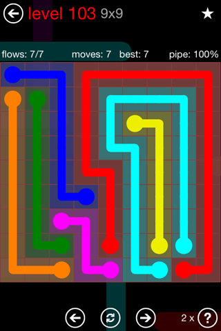 Solution and Answer to the Puzzle for Flow 9mania Pack Set 9x9 Level 103