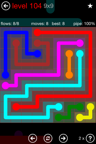 Solution and Answer to the Puzzle for Flow 9mania Pack Set 9x9 Level 104