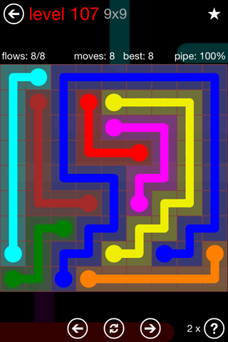 Solution and Answer to the Puzzle for Flow 9mania Pack Set 9x9 Level 107