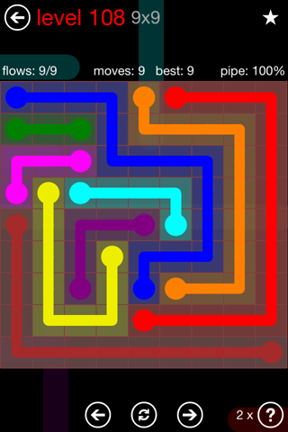 Solution and Answer to the Puzzle for Flow 9mania Pack Set 9x9 Level 108