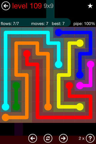 Solution and Answer to the Puzzle for Flow 9mania Pack Set 9x9 Level 109
